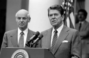 8/3/1981 President Reagan with William French Smith making a statement to the press regarding the air traffic controllers strike PATCO from the Rose Garden