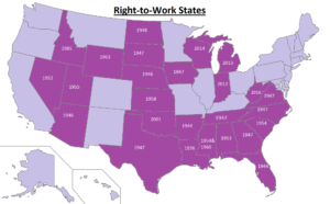Right To Work States Map 2016.Right To Work How We Got Here